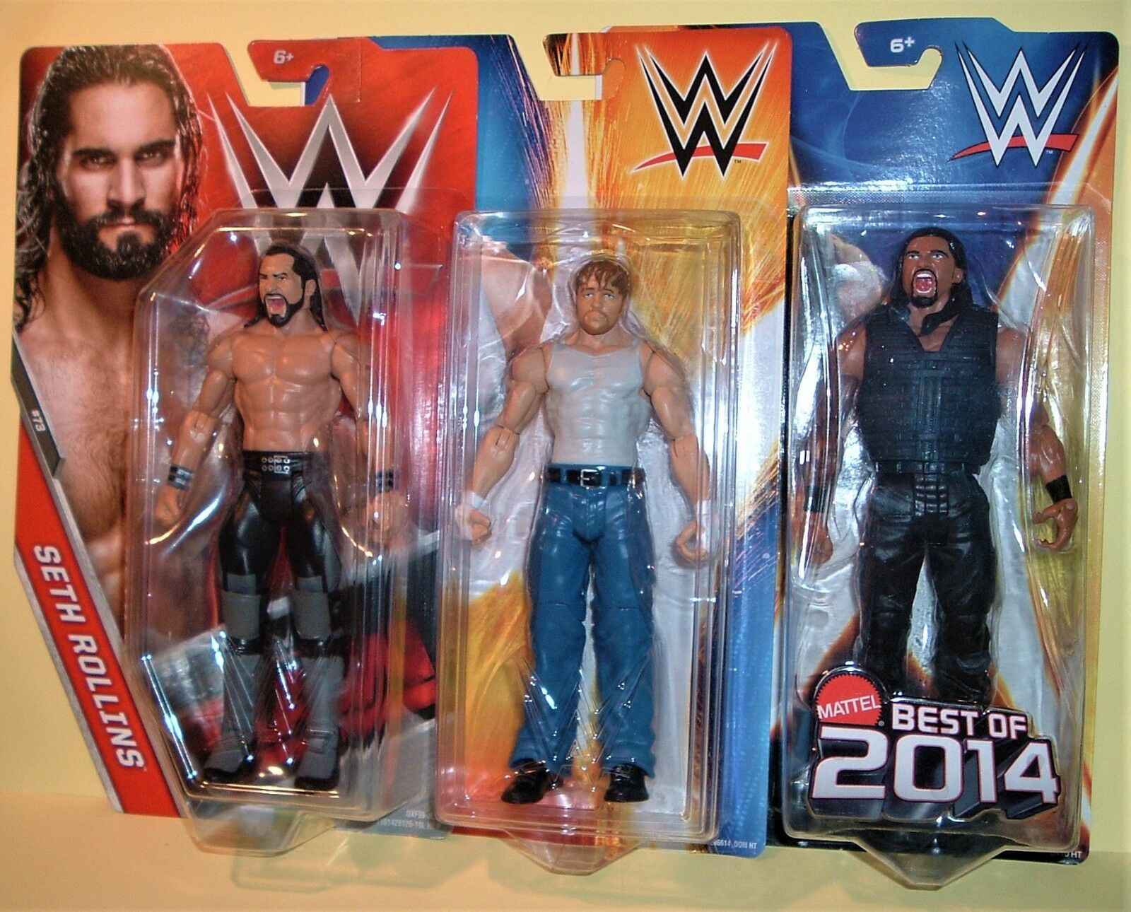 WWE THE SHIELD SETH ROLLINS DEAN AMBpink+ROMAN REIGNS MATTEL WRESTLING FIGURES