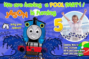 THOMAS THE TANK TRAIN 1ST BIRTHDAY PARTY INVITATION C6 CARDS PHOTO Pool Specialty Services