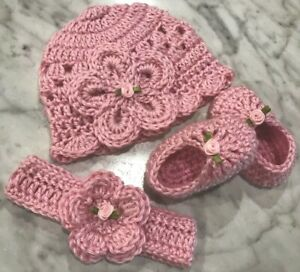 Hand Knitted White//Pink Lace Baby Girl Bonnet//Hat//Shoes N//B  0//3 3//6 Months
