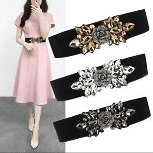 Fashion Women Flower Crystal Rhinestone Wide Waist Strap Elastic Waistband Belt