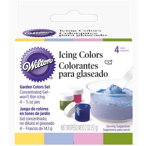 Quatre 1//2 oz bocaux Wilton alimentaire couleur givrage Jardin tons de couleurs