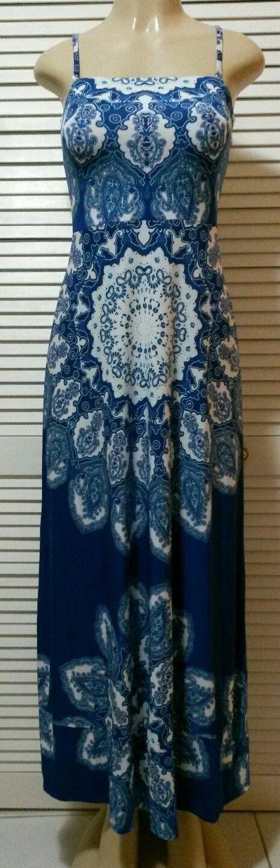New  Inc International Concepts bluee Multi Spaghetti Straps Maxi Dress Medium