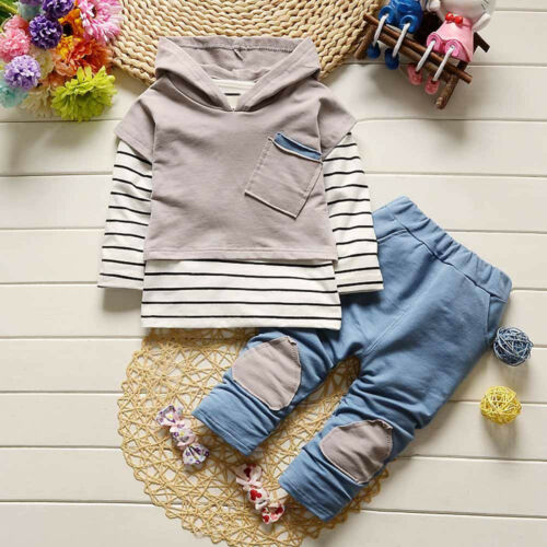 Toddler Kids Baby Boy Girls Outfits Hooded Stripe T-shirt Tops Pants Clothes Set
