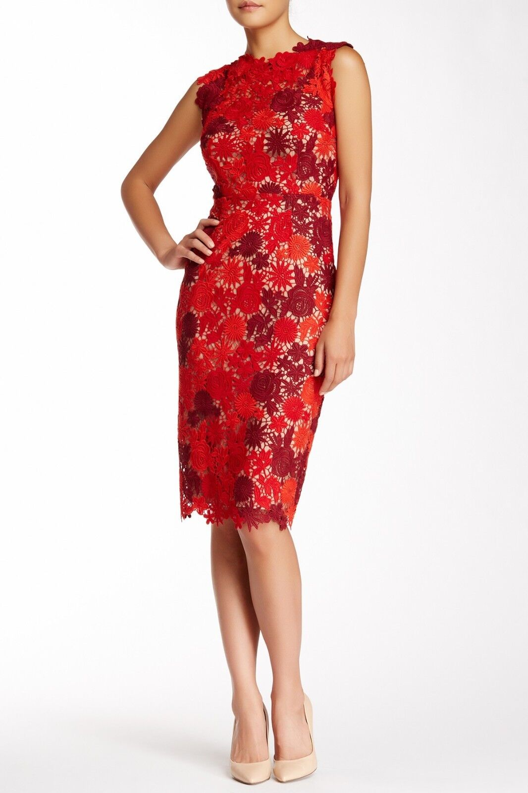 Mikael Aghal Couleurblock Floral dentelle gaine robe (taille 12)
