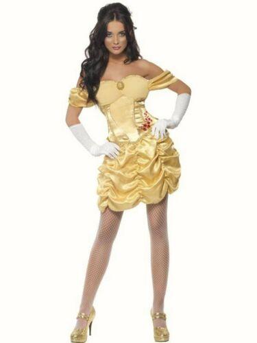 Femmes Belle Fancy Dress Costume Golden Princess Fairy Tale tenue jaune