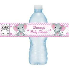 12 Elephant Baby Shower Birthday Party Water Bottle