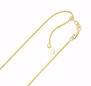 613fa115261e 1mm Solid Adjustable Spiga Wheat Chain Necklace REAL 10K Yellow Gold ...