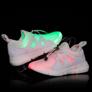 Details zu Herren Mädchen Jungen LED Schuhe USB Flashing Fiber Optic leuchtende Sneakers