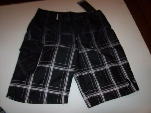 Hurley swimsuit boys board shorts swim trunk black plaid 5 6 7 10 12 14 16 18 20