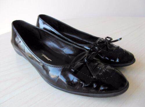 d2035420b2e Chaussures Ferragamo Salvatore Plates Ballerines 37 Verni Femme Cuir Noir  qRURH5