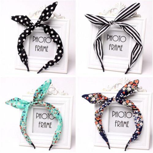 Floral Hairband Fabric Butterfly Bow Knot Hair Hoops Rabbit Ears Headband Flo B$