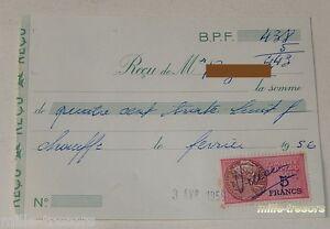 RECU-pour-CHAUFFE-le-3-avril-1956-TIMBRE-Fiscal-de-5-FRANCS
