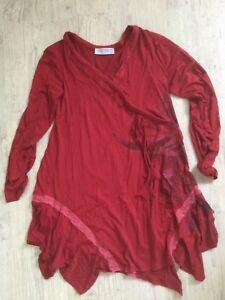 4 Neuf tat Rouge Avec Taille Tunique En Deca Robe Viscose lasthane Fq84HPw
