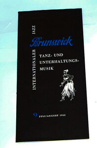 Klar Und Unverwechselbar 9 Juli/aug 1952 k88 Brunswick Internationaler Jazz Musik Katalog Nr