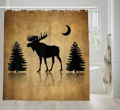 Rustic Elk Moose Deer Forest Pine Tree Moon Shower Curtain Decor Fabric 69X70 In