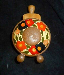 """1980 Romanian Wooden Flask Painted 5"""" high with gift box. Folk Art, decorative"""