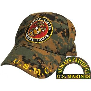 United States Marines ALWAYS FAITHFUL Camo Hat Camouflage Cap