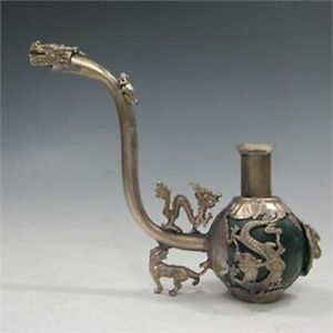 COLLECTIBLE-CHINESE-SILVER-COPPER-INLAID-JADE-HANDMADE-DRAGON-SMOKE-PIPE