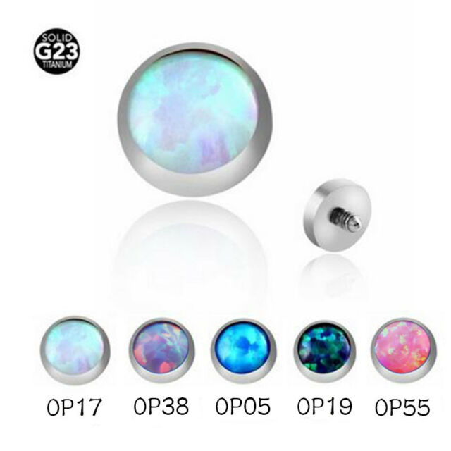 Details about  /G23 Titanium MULTI Color Gem Dermal Anchor Top Screw Stud Internal Body Piercing