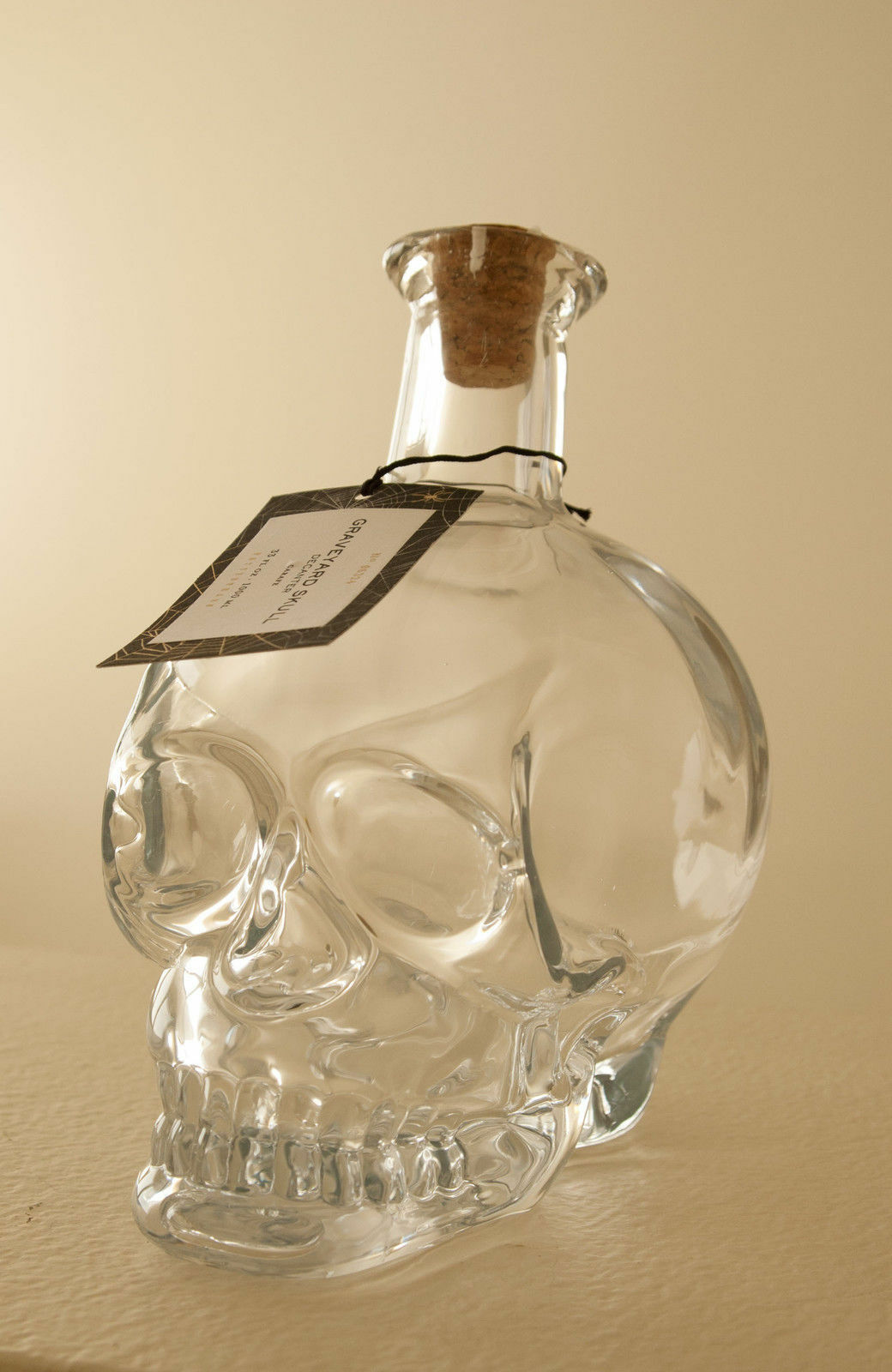Pottery Barn Graveyard Skull Glass Decanter Brand New with Tag