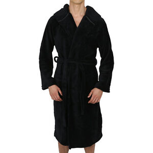 Mens-Bathrobe Hooded -ROBE Coral Fleece - SUPER SOFT Heavy Weight ... 2c6a6f70d