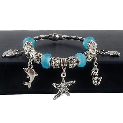 Dolphin Blue Cats Eye Dangle Bead Charm for European Bracelet