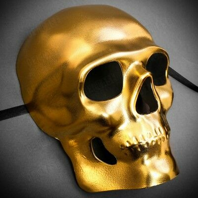 Pure Bright Gold Horror Skull Mask Full Face Masquerade Halloween Mask Cosplay