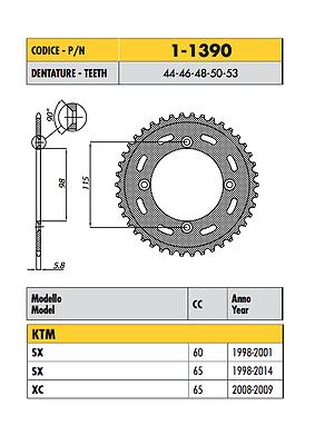 1-1390 - Corona Passo 420 Per Ktm 60 Sx 1998 1999 2000 2001
