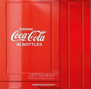 Drink-Coca-Cola-in-Bottles-Aufkleber-30x15cm-weiss-glanz-fuer-Kuehlschrank-Tuer