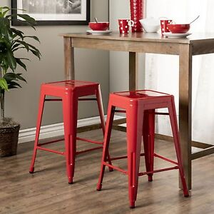 Bon Image Is Loading Set Of 2 Square Red Metal Stacking Chairs