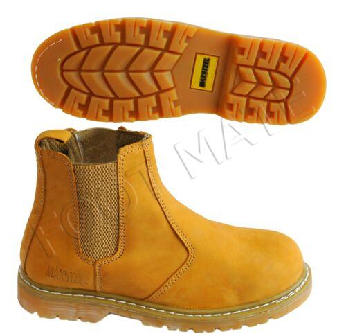 Homme bon YEAR Cousu Bottines Chelsea Dealer Acier Orteil Casquette Sécurité Travail Bottes Chaussures