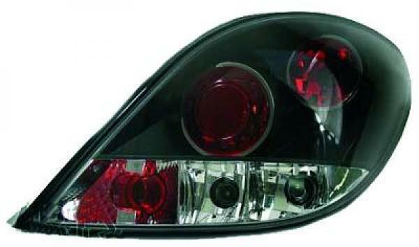 Feux Arrière Paire Ensemble Transparent Noir pour Peugeot 207 06-12