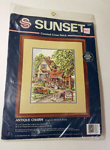 Sunset ANTIQUE CHARM Counted Cross Stitch Kit 13608 Siurek 1995 Sealed RARE New