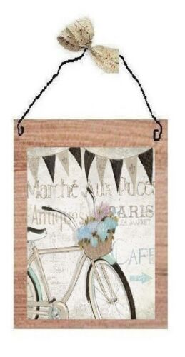 Paris Pictures Antique Bikes Flowers Wicker Basket France Wall Hangings Plaques