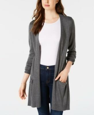 Maison Jules Womens Ribbed Trim Long Sleeve Cardigan Sweater Top BHFO 1176
