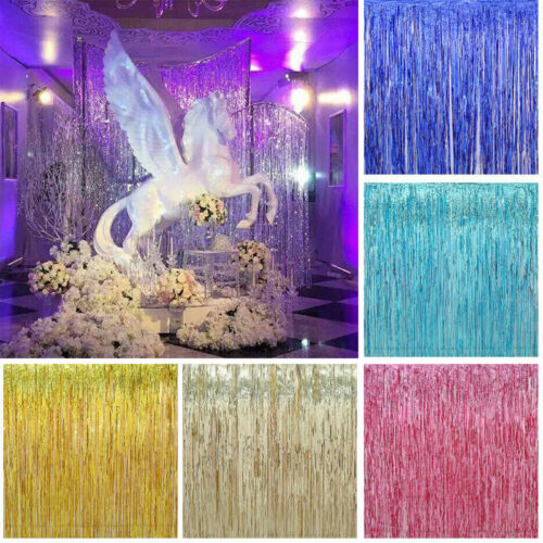 Foil Fringe Curtains Photo Booth Tinsel Door Backdrop Party Decor SL