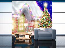 Papel Pintado Mural De Vellón Navidad Árboles Casa 124 Paisaje Fondo De...