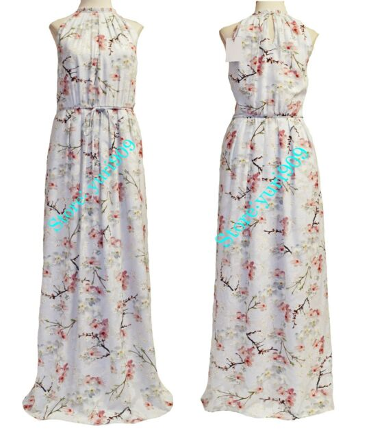 c6fe2e9cd9cf Ted Baker London Light Grey Elynor Floral Pleated Maxi Dress Size 4 (US 10)