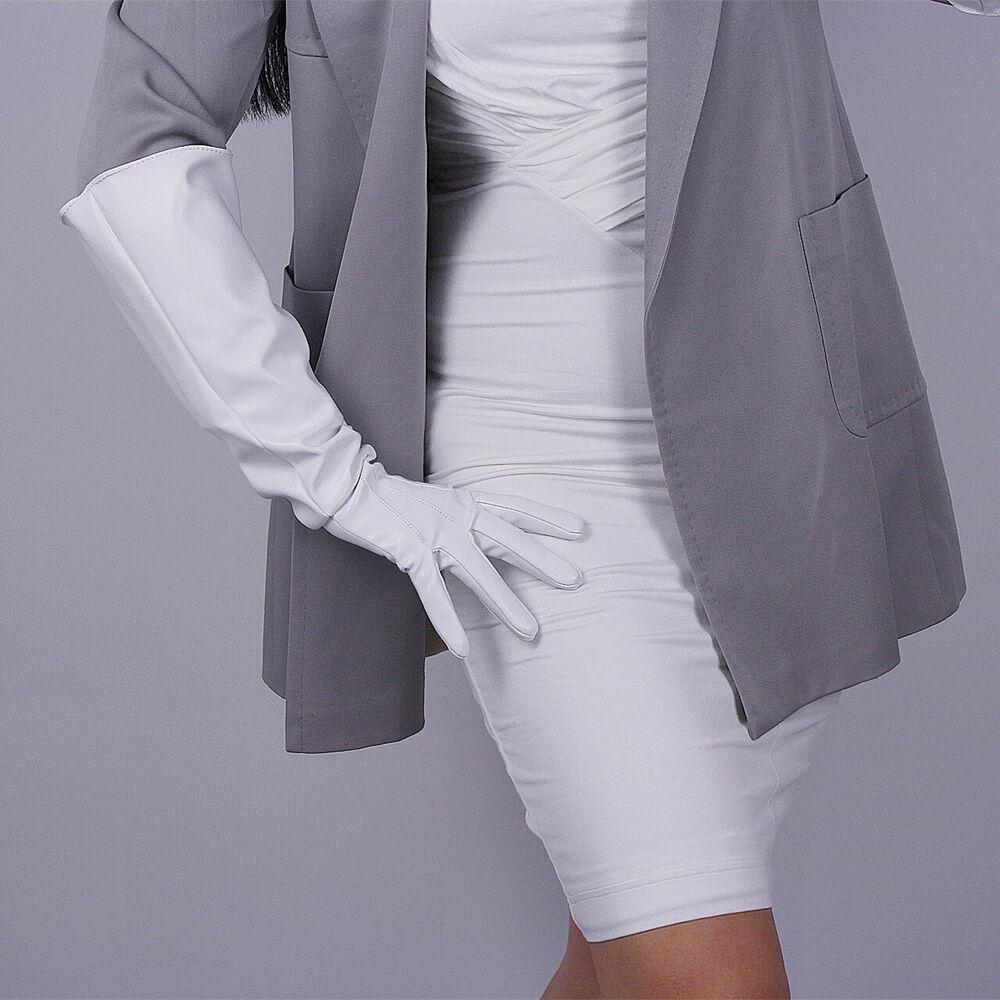 Capable Tech Long Gants Unisexe Blanc Cuir Synthétique Noir Coude 50 Cm Manches Larges Grand Dessins Attrayants;