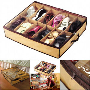 12-Pairs-Shoes-Storage-Organizer-Holder-Container-Home-Under-Bed-Closet-Box-Bag