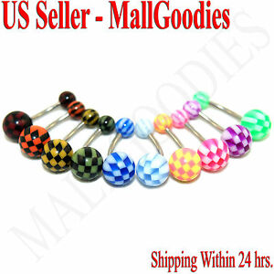 W065-Acrylic-Belly-Naval-Rings-Bars-Barbells-Checkered-Pattern-Design-10-Colors
