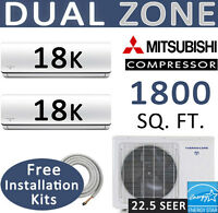 36,000 Btu Dual Zone Ductless Mini Split Ac - Heat : 18000 X 2 :15' Install Kits