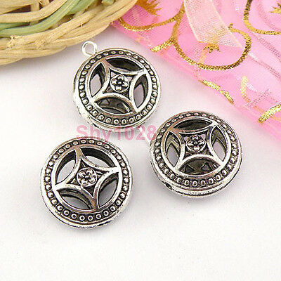 10Pcs Tibetan Silver Hollow Filigree Round Spacer Beads 9x17mm LA5059