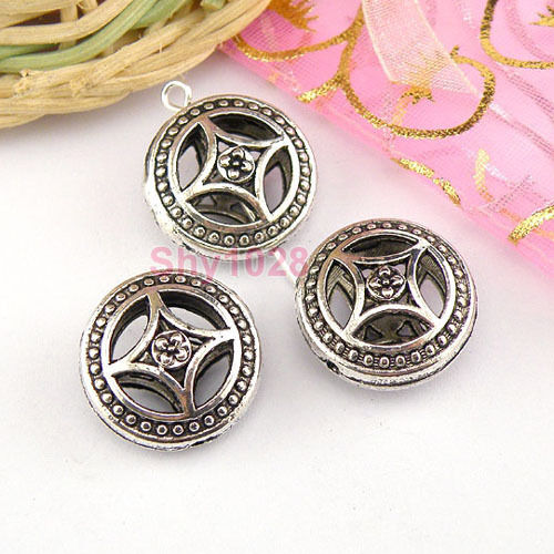4Pcs Tibetan Silver Hollow Filigree Round Spacer Beads 9x17mm LA5059