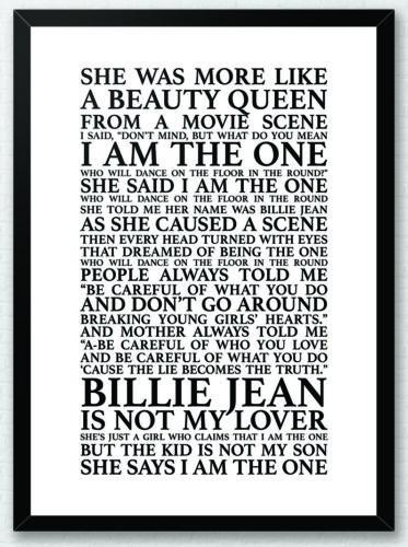 Michael Jackson Song Lyrics Typography Print Poster Artwork Home Billie Jean