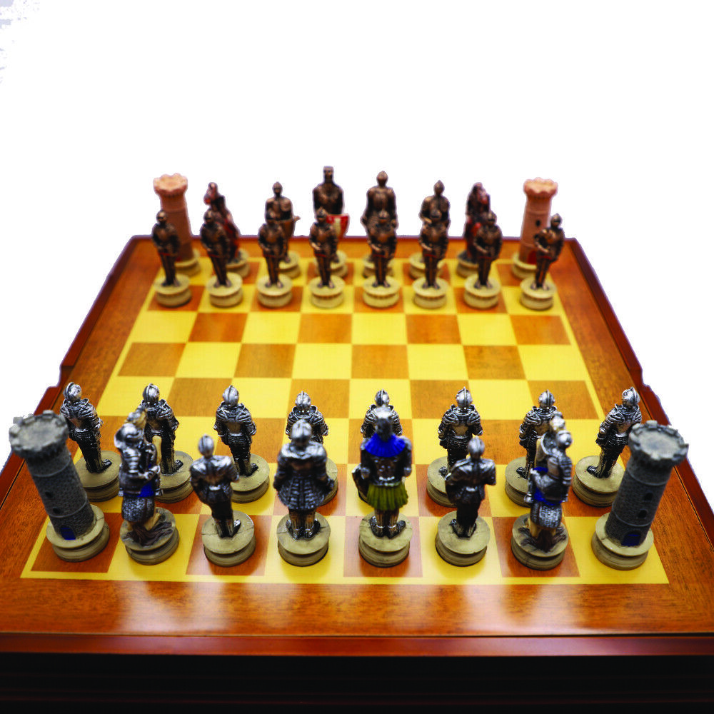 New Medieval Knight Chess Set   Resin Pieces