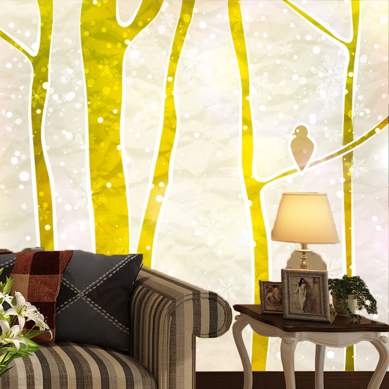 3D tree snow Gold fashion Wall Paper Print Decal Wall Deco Indoor wall Mural