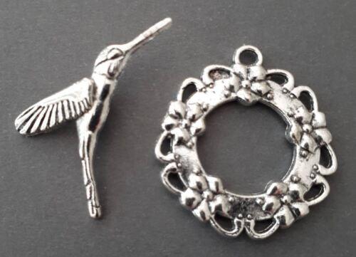 4 Sets 8pcs-Hummybird OT toggle silver tone jewelry toggle jewelry findings