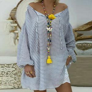 Freizeithemd-Groesse-lose-Pullover-Sleeve-Lange-V-Ausschnitt-Tunika-Tops-Plus-Frauen-Bluse