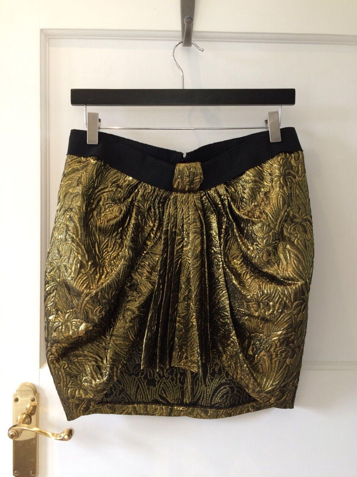 Isabel Marant gold brocade mini skirt, Wool silk, Size 1 UK S